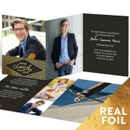 Gold Foil Diamonds Trifold Graduation Announcements