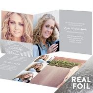Silver Foil Diamonds Trifold Graduation Announcements