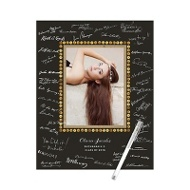 Sequin-Look Frame Guest Book Print Graduation Party Decorations