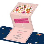 Floral Umbrella Baby Shower Invitations