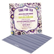Tea Time In Purple Baby Shower Invitations