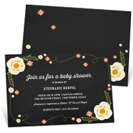 Floating Flowers Baby Shower Invitations