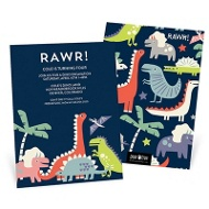 Dinosaur Rawr Kids Birthday Invitations