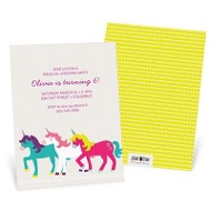 Three Unicorns Kids Birthday Invitations