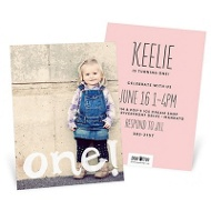 Painted One Vertical 1st Birthday Invitations