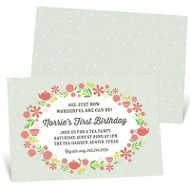 Garden Tea Party Kids Birthday Invitations