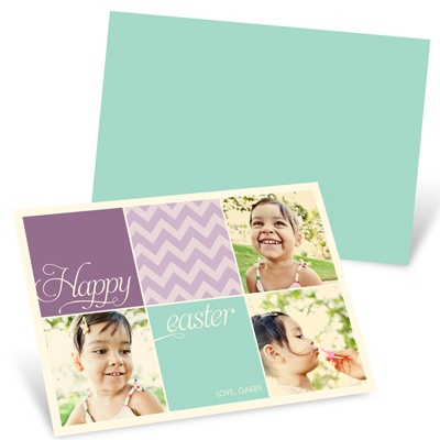 Chevron Color Block Easter Photo Cards