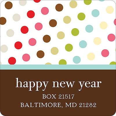 Polka-Dot Party Colorful Address Label
