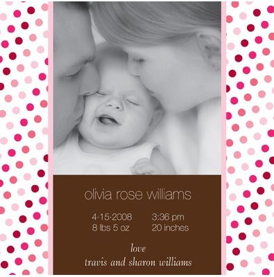 Polka Dot Party -- Sweet Pink Birth Announcement