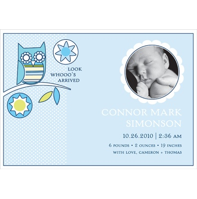 Look Whooo's Arrived -- Blue Photo Birth Announcement