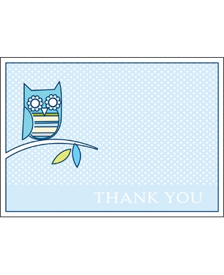 Look Whooo's Arrived -- Blue Thank You Card