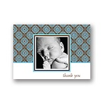 Delicate Patterns -- Blue Photo Thank You Cards