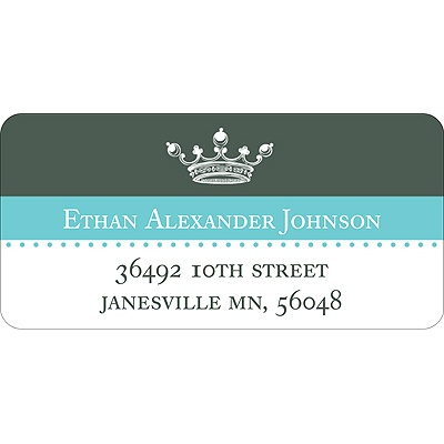 Crowned -- Blue Address Label