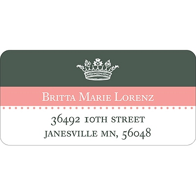 Crowned -- Pink Address Label