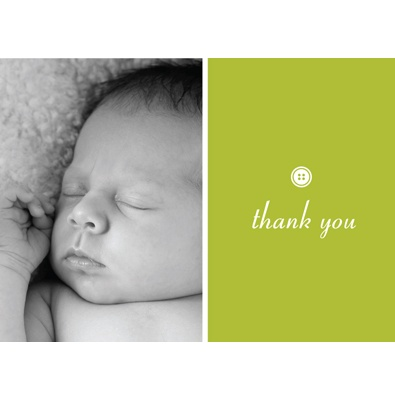 Cute as Button -- Olive Photo Thank You Card