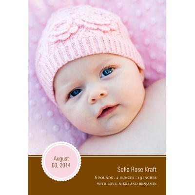 Circle Scallops -- Pink Photo Birth Announcement