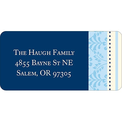 Pretty Stripes -- Blue Address Label