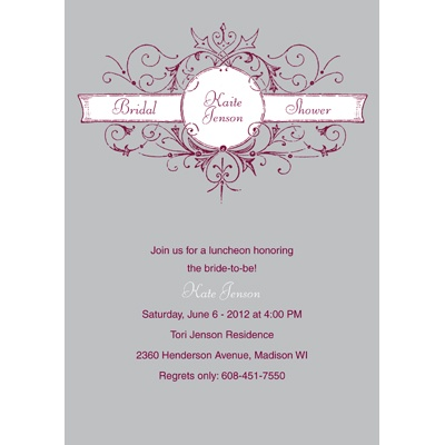 Vintage Scroll Pewter Bridal Shower Invitation