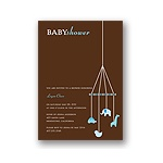Baby Mobile -- Mocha & Sky Baby Shower Invitations