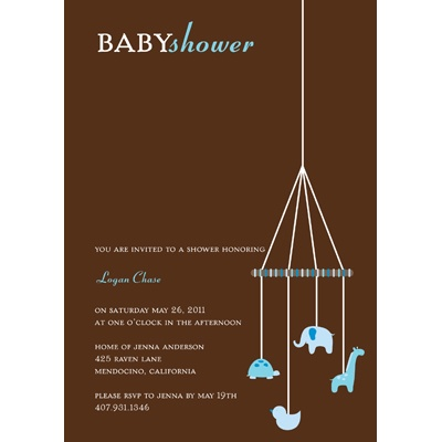 Baby Blue Mobile Baby Shower Invitations