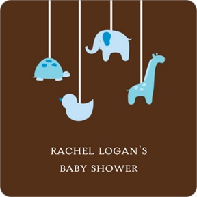Swinging Animal Mobile in Blue Stickers -- Baby Shower Favor Tags