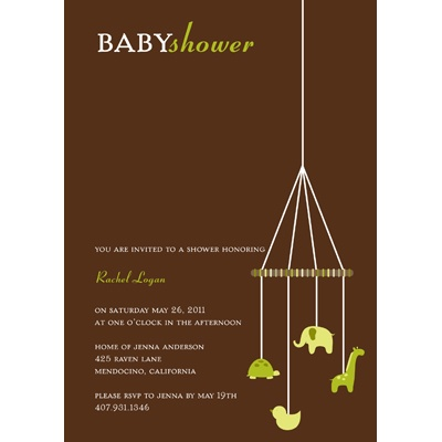 Baby Green Mobile Baby Shower Invitations