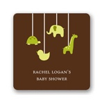 Swinging Animal Mobile in Green -- Baby Shower Favor Stickers