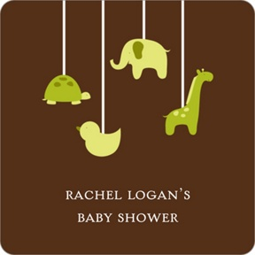 Swinging Animal Mobile in Green Stickers -- Baby Shower Favor Tags