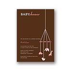 Baby Mobile -- Mocha & Pink Baby Shower Invitations