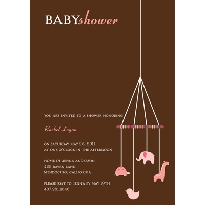 Baby Pink Mobile Baby Shower Invitations
