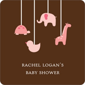 Swinging Animal Mobile in Pink Stickers -- Baby Shower Favor Tags
