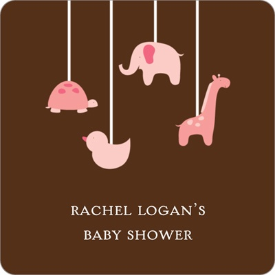 Swinging Animal Mobile in Pink Stickers Baby Shower Favor Tags