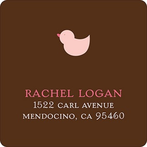 Baby Mobile - Mocha & Pink Address Label