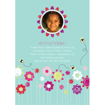 Springtime Buzz -- Aqua Photo Birthday Party Invitation