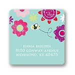 Springtime Buzz -- Aqua Address Label