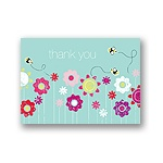 Springtime Buzz -- Aqua Thank You Card