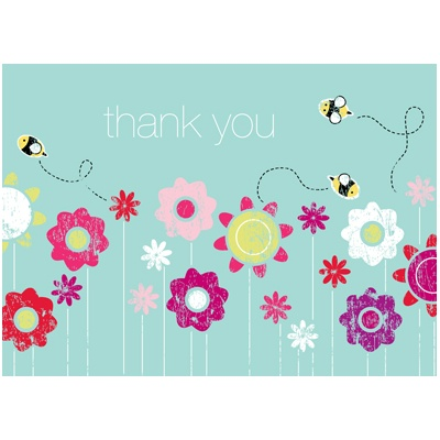 Springtime Buzz Aqua Thank You Card