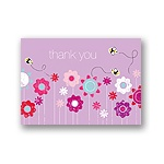 Springtime Buzz -- Violet Thank You Card
