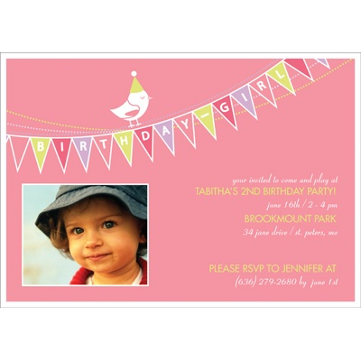 Banner Year -- Pink Photo Birthday Invitation