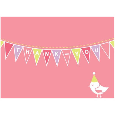 Banner Year -- Pink Thank You Card