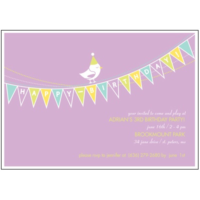 Banner Year -- Violet Birthday Invitation