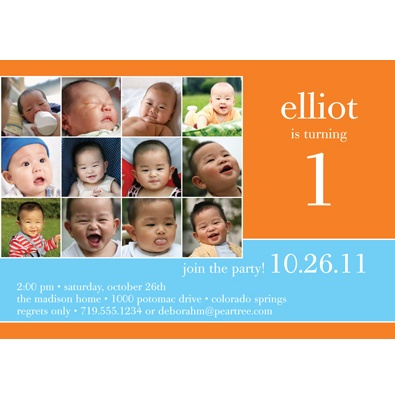 Year in Review -- Orange 1st Birthday Invitation