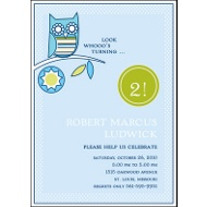 Look Whooo's Turning Blue Birthday Party Invitation