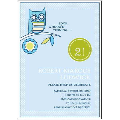 Look Whooo's Turning -- Blue Birthday Party Invitation