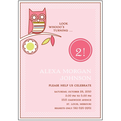 Look Whooo's Turning Pink Birthday Party Invitation