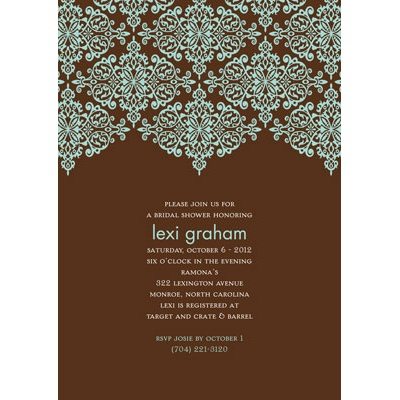Delicate Lace - Mocha Bridal Shower Invitation