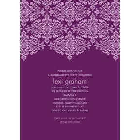 Delicate Lace -- Grape Bachelorette Party Invitation
