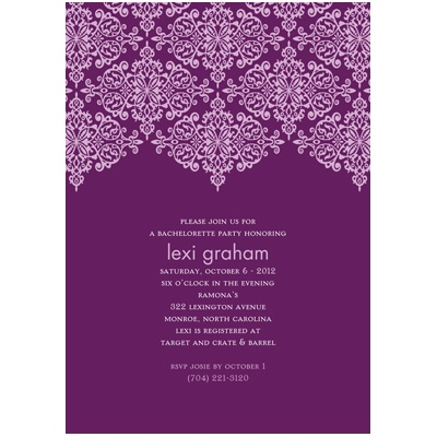 Delicate Lace -- Grape Bachelorette Party Invitation