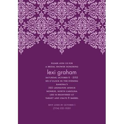 Delicate Lace - Grape Bridal Shower Invitation