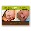 A Birdie Told Me -- Olive Twins Photo Birth Announcement
